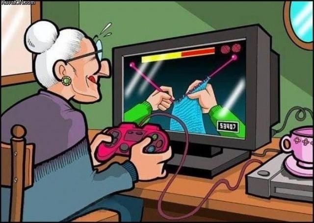 Mémé qui joue au tricot virtuel