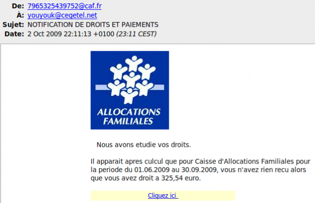 Mail phishing CAF