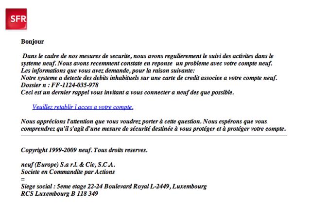 mail frauduleux sfr - novembre 09