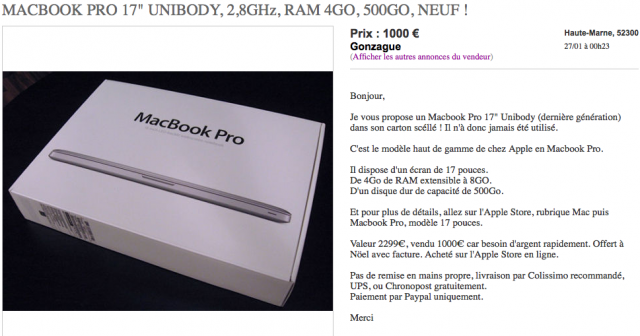 macbook pro 17 2009 vendre pour 1000. Black Bedroom Furniture Sets. Home Design Ideas