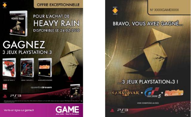 OFFRE DE LANCEMENT EXCLUSIVE SUR HEAVY RAIN PS3