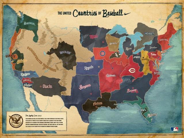 Carte des équipes de baseball USA