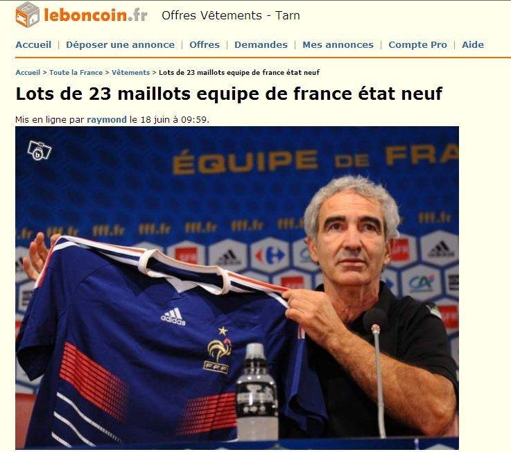 Annonce leboncoin vente maillots equipe de france de foot 2010