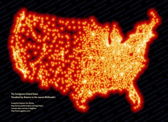 Carte éloignement des Mc Donald's aux Etats Unis