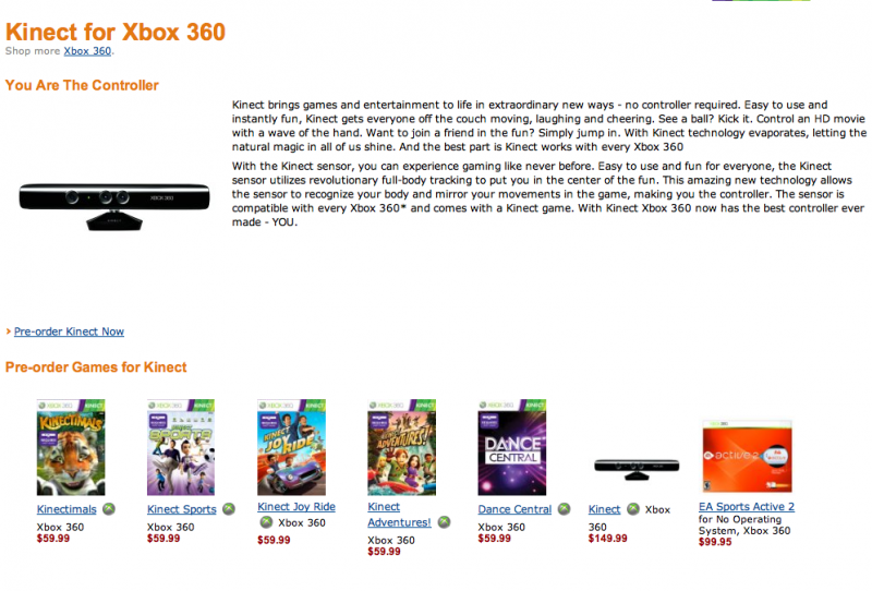Prix de Kinect et des jeux sur la Xbox 360 slim