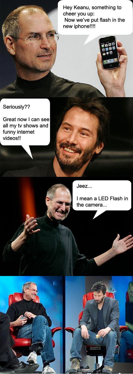 {Pic} Steve Jobs déconne avec Keanu Reeves: oui, il y a bien du Flash dans l'iPhone 4