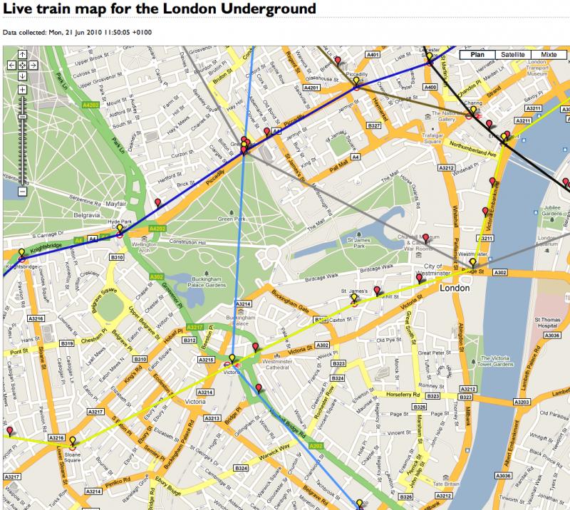 {Site} Suivre le traffic du Tube en temps réel