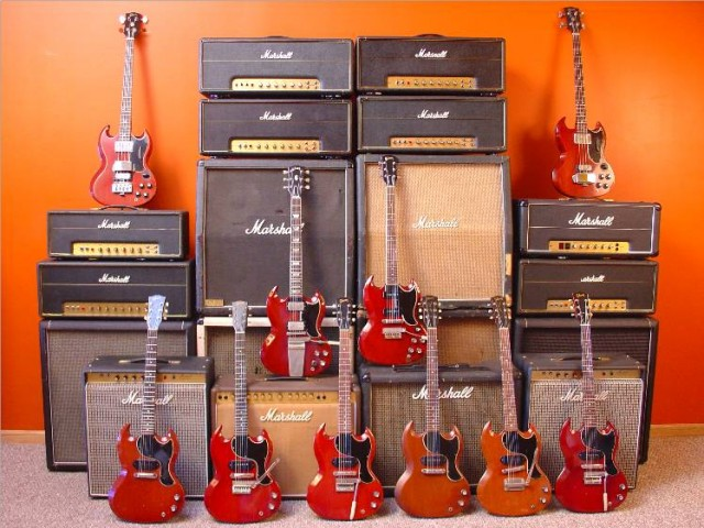 vintage gibson sg guitars with vintage marshall amps