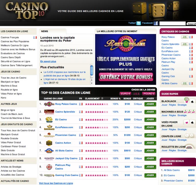 {Site} Casino Top 10: le couteau suisse du joueur en ligne