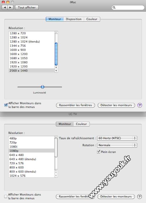 Configuration affichage TV LCD HD iMac