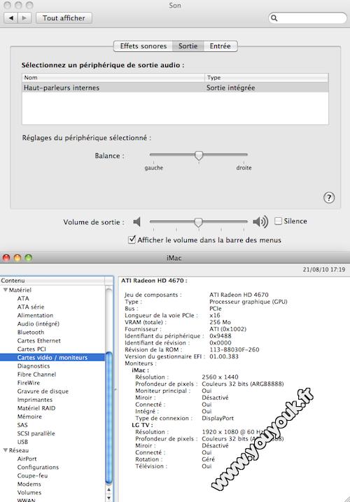 Configuration sortie son iMac