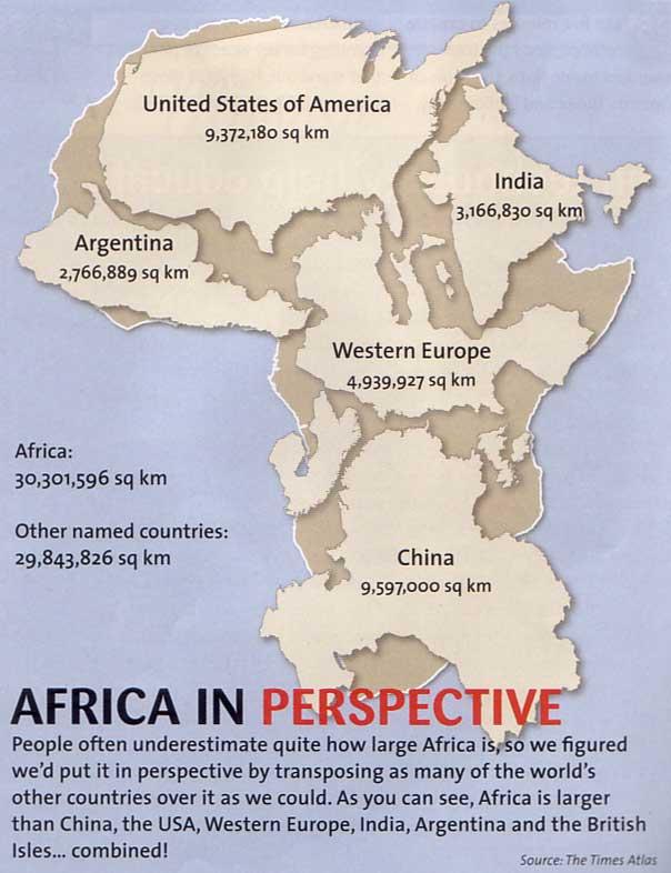 {Pic} L'Afrique est un continent bien plus grand qu'on ne croit