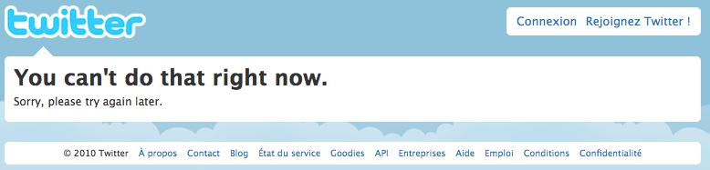 Erreur twitter en cas de création trop rapide