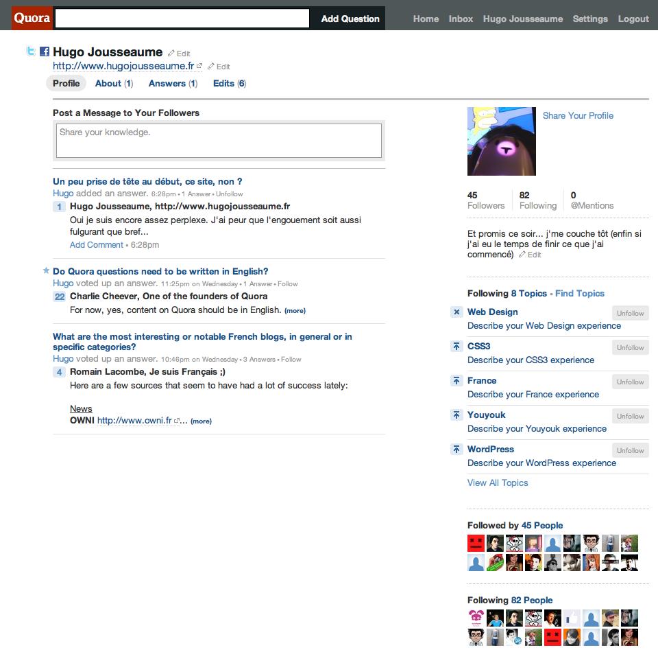 Quora tableau d'administration utilisateur