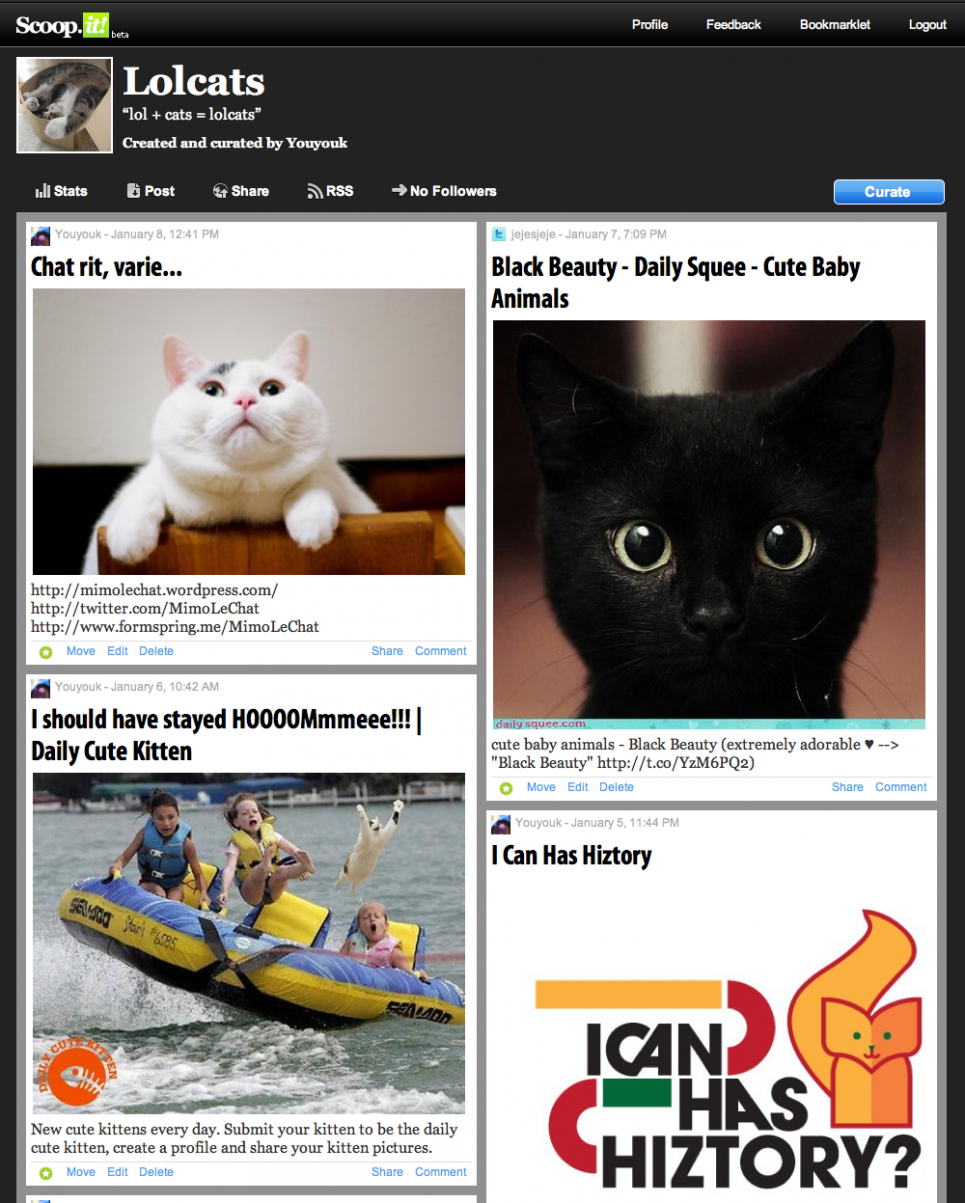 Scoop it Page d'accueil Lolcats