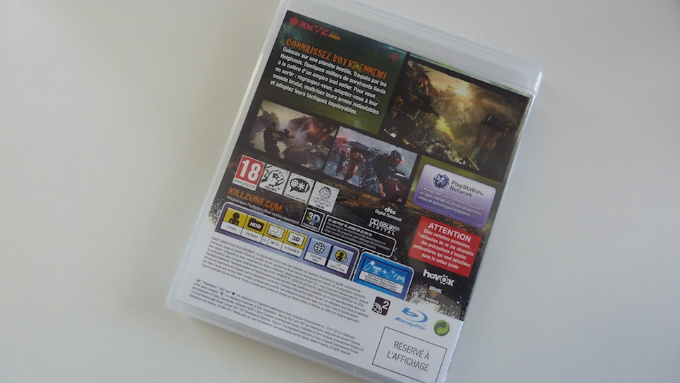 Killzone 3 PS3 jaquette arrière