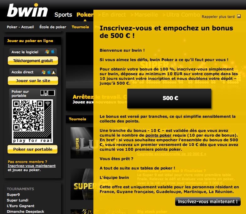 Bonus d'inscription sur Bwin